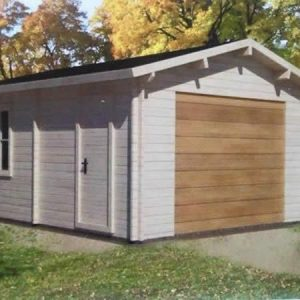 Log cabin Single garage with side door and window