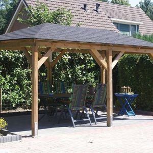Gazebo with apex roof with double hips