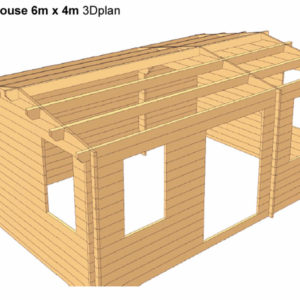 Log Cabin Poolhouse 6m x 4m